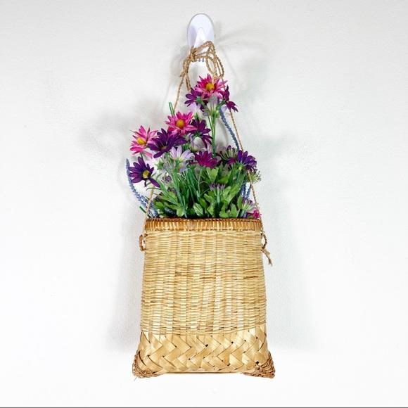 Vintage Hanging Wicker Raffia Basket Bag